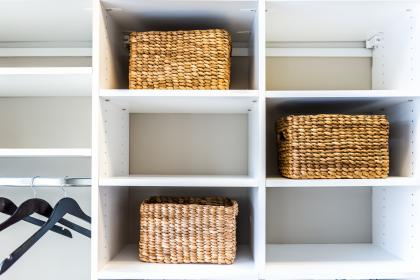 Closet with organizers.